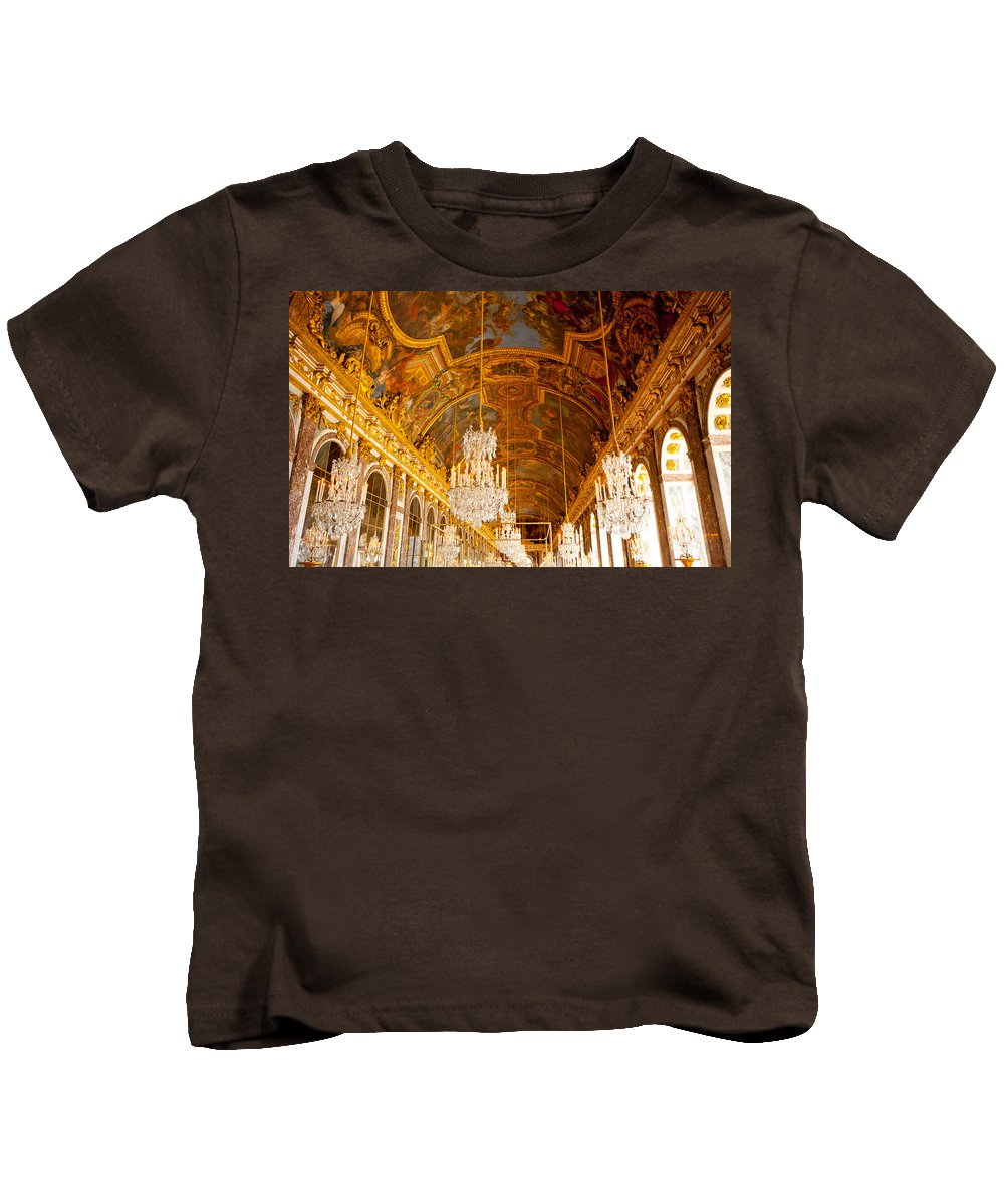 Paris Kids T-Shirt featuring the photograph Chandeliers And Ceiling Of Versailles by Anthony Doudt
