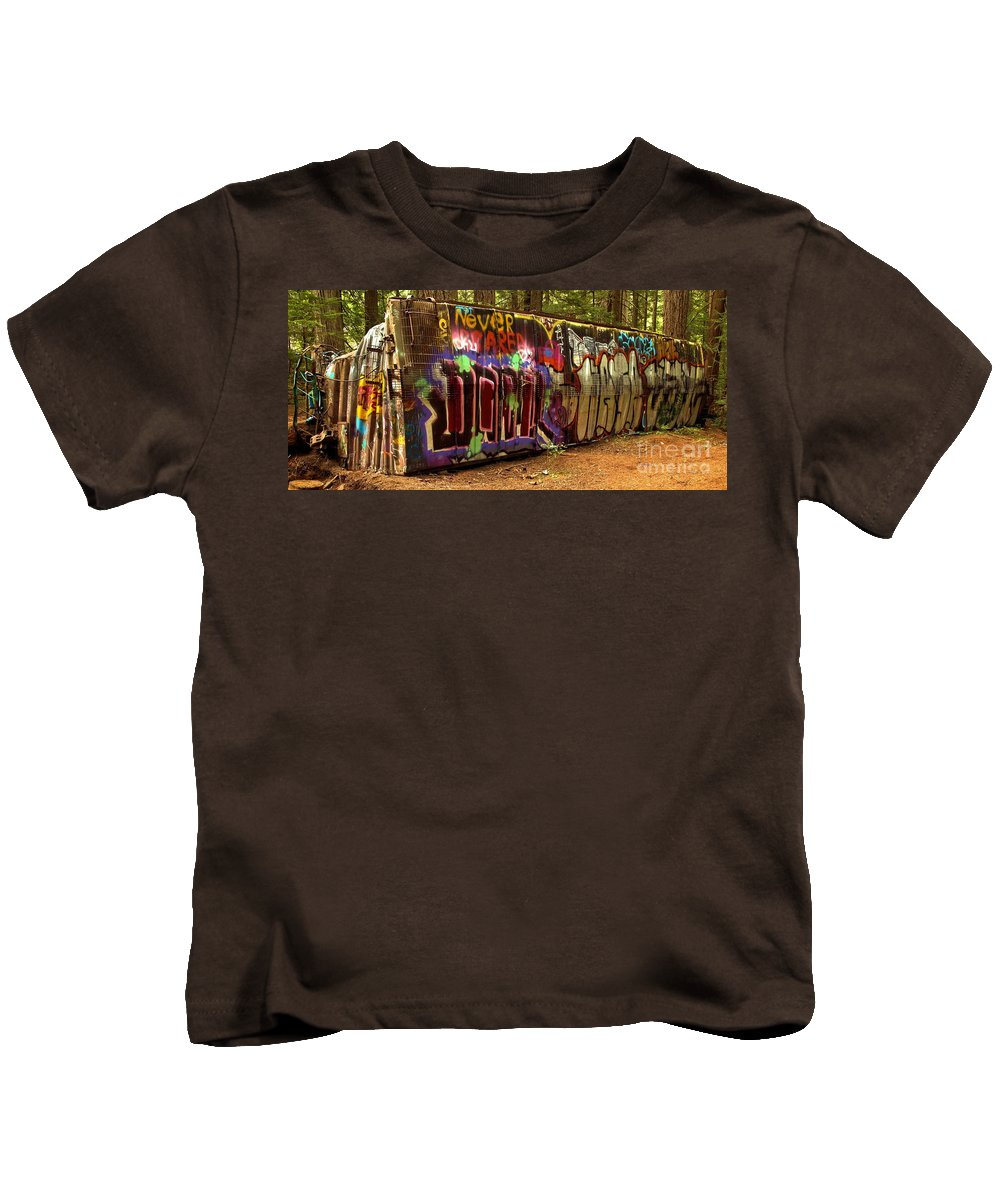 Canada Pacific Kids T-Shirt featuring the photograph Cheakamus River Train Wreck by Adam Jewell