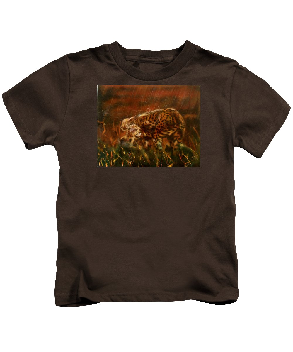 Rain;water;cats;africa;wildlife;animals;mother;shelter;brush;bush Kids T-Shirt featuring the painting Cheetah Family After The Rains by Sean Connolly