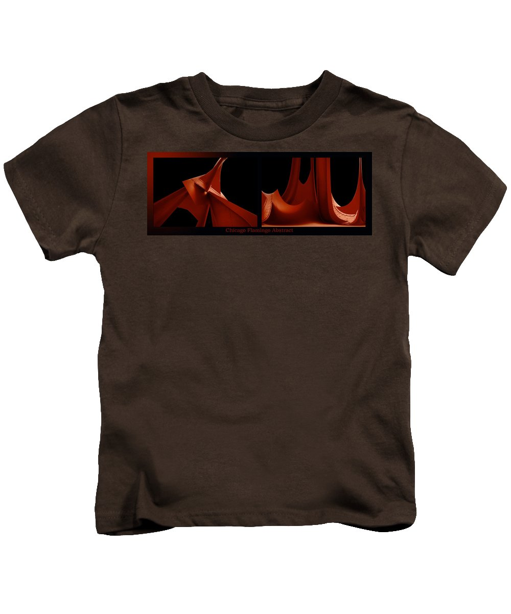 Chicago Kids T-Shirt featuring the photograph Chicago Flamingo Abstract 2 Panel 02 by Thomas Woolworth
