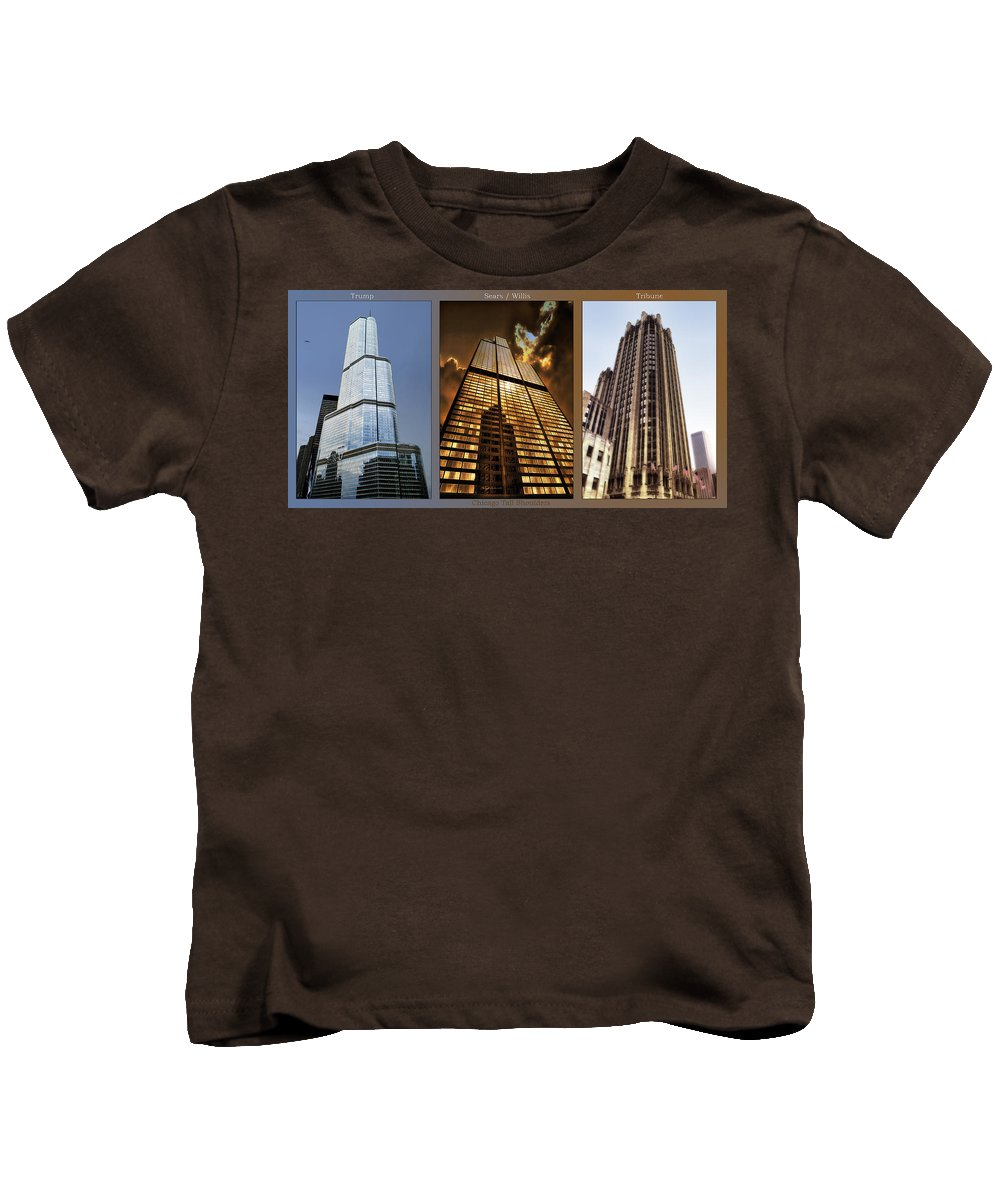 Chicago Kids T-Shirt featuring the photograph Chicago Tall Shoulders Trump Sears Tribune Triptych 3 Panel 01 by Thomas Woolworth