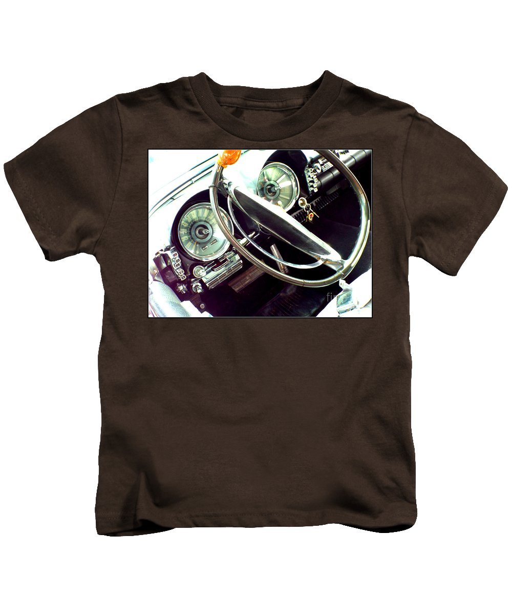 Classic Car Kids T-Shirt featuring the photograph Classic Car Odometer by Rebecca Malo