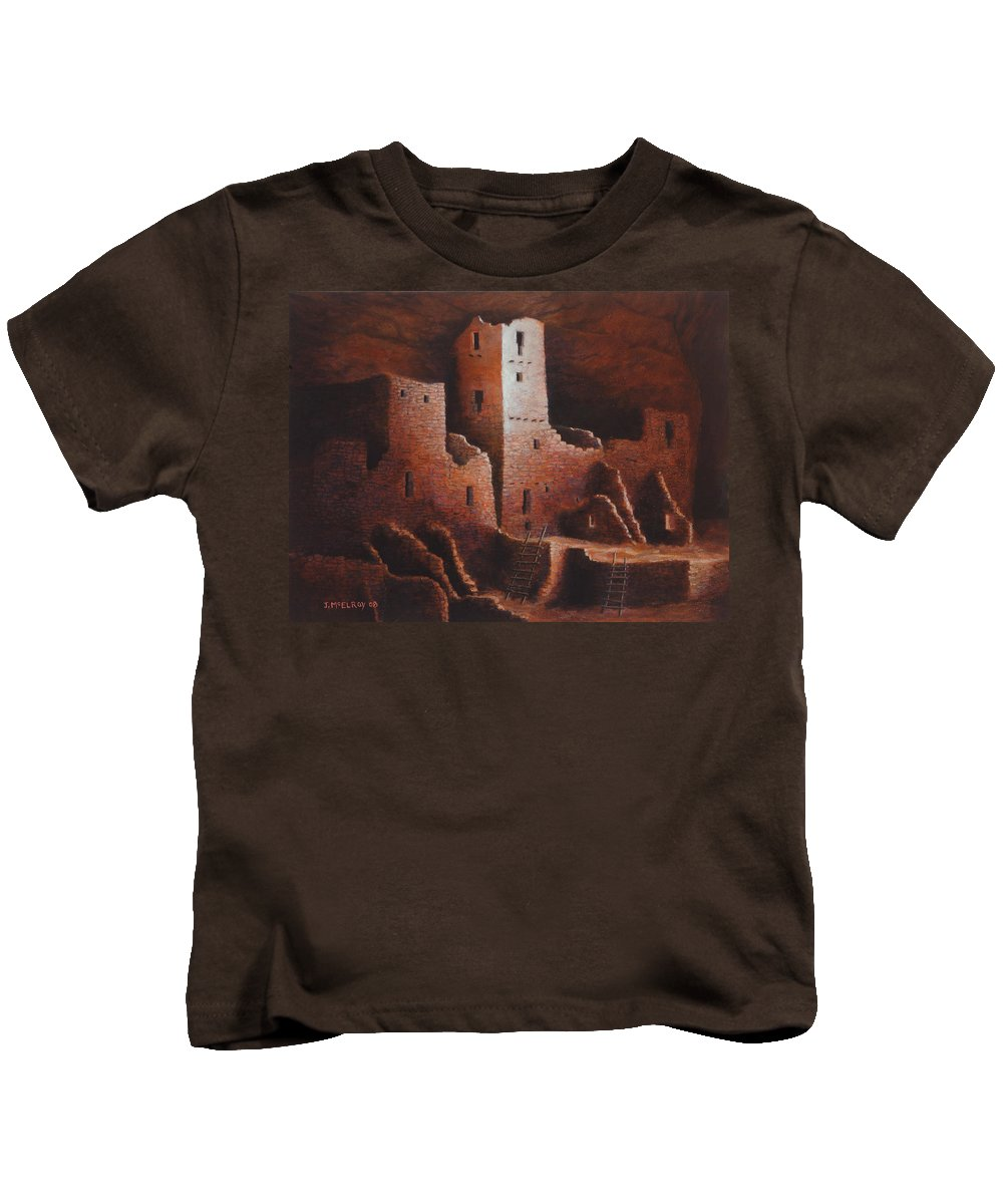Anasazi Kids T-Shirt featuring the painting Cliff Palace by Jerry McElroy