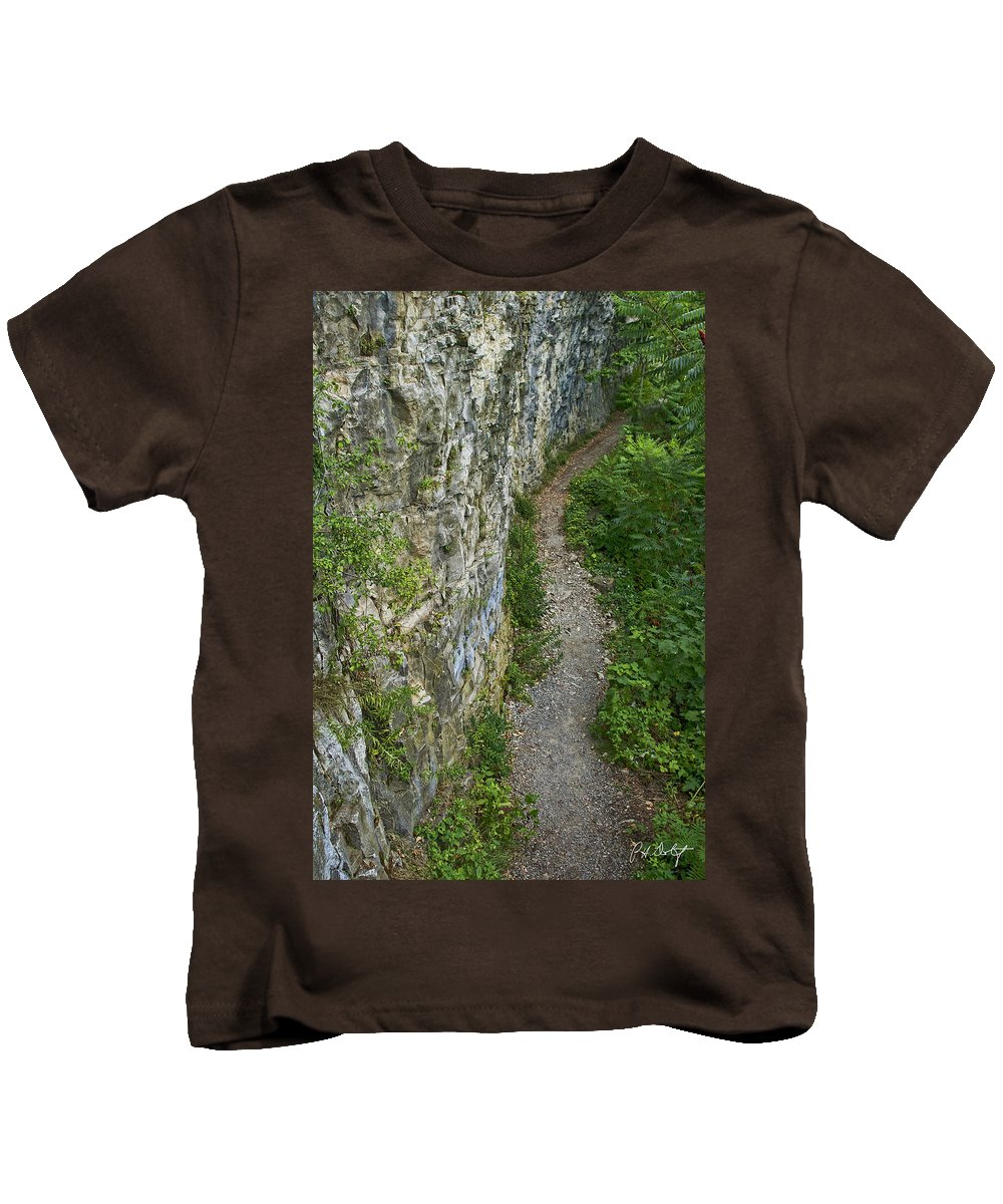 Boulders Kids T-Shirt featuring the photograph Cliffside Path by Phill Doherty