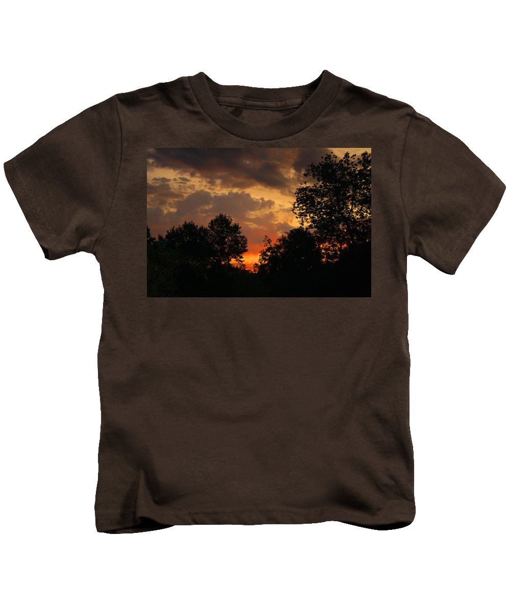 Sunrise Kids T-Shirt featuring the photograph Cloudy Dawn by Kathryn Meyer
