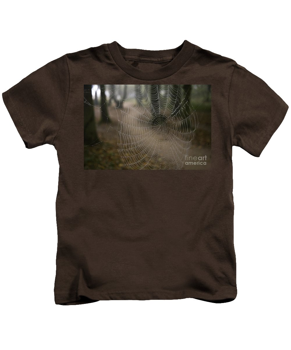 Spiderweb Kids T-Shirt featuring the photograph Cobweb by Heiko Koehrer-Wagner
