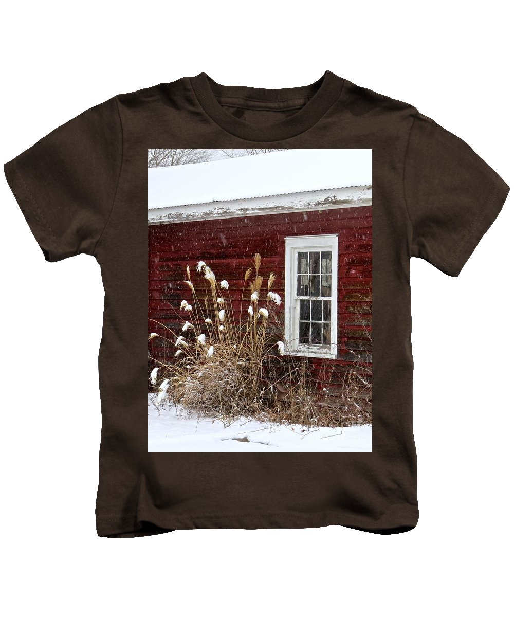 Wood Window Kids T-Shirt featuring the photograph Cold Winter Day by Nancy Patterson