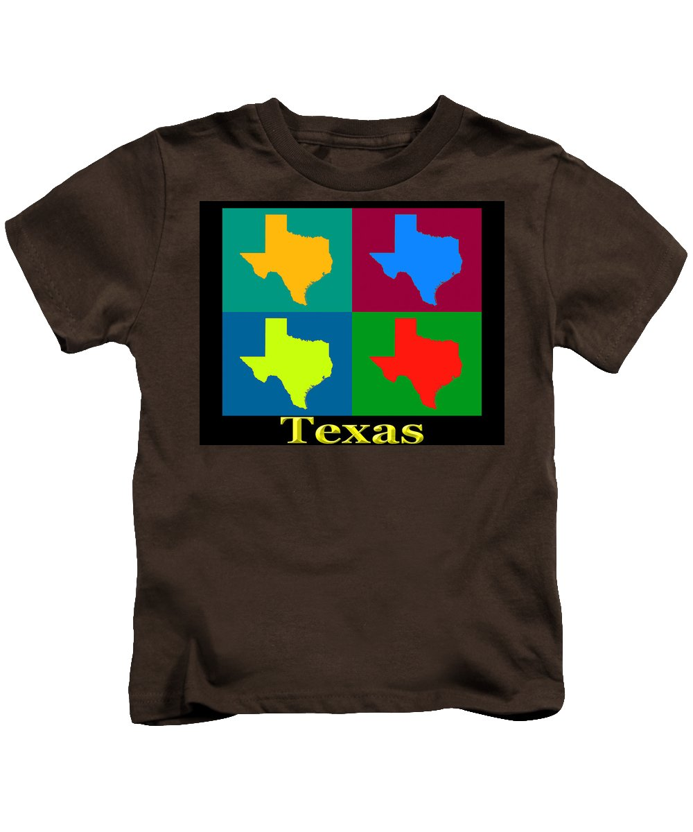 Texas Kids T-Shirt featuring the photograph Colorful Texas Pop Art Map by Keith Webber Jr