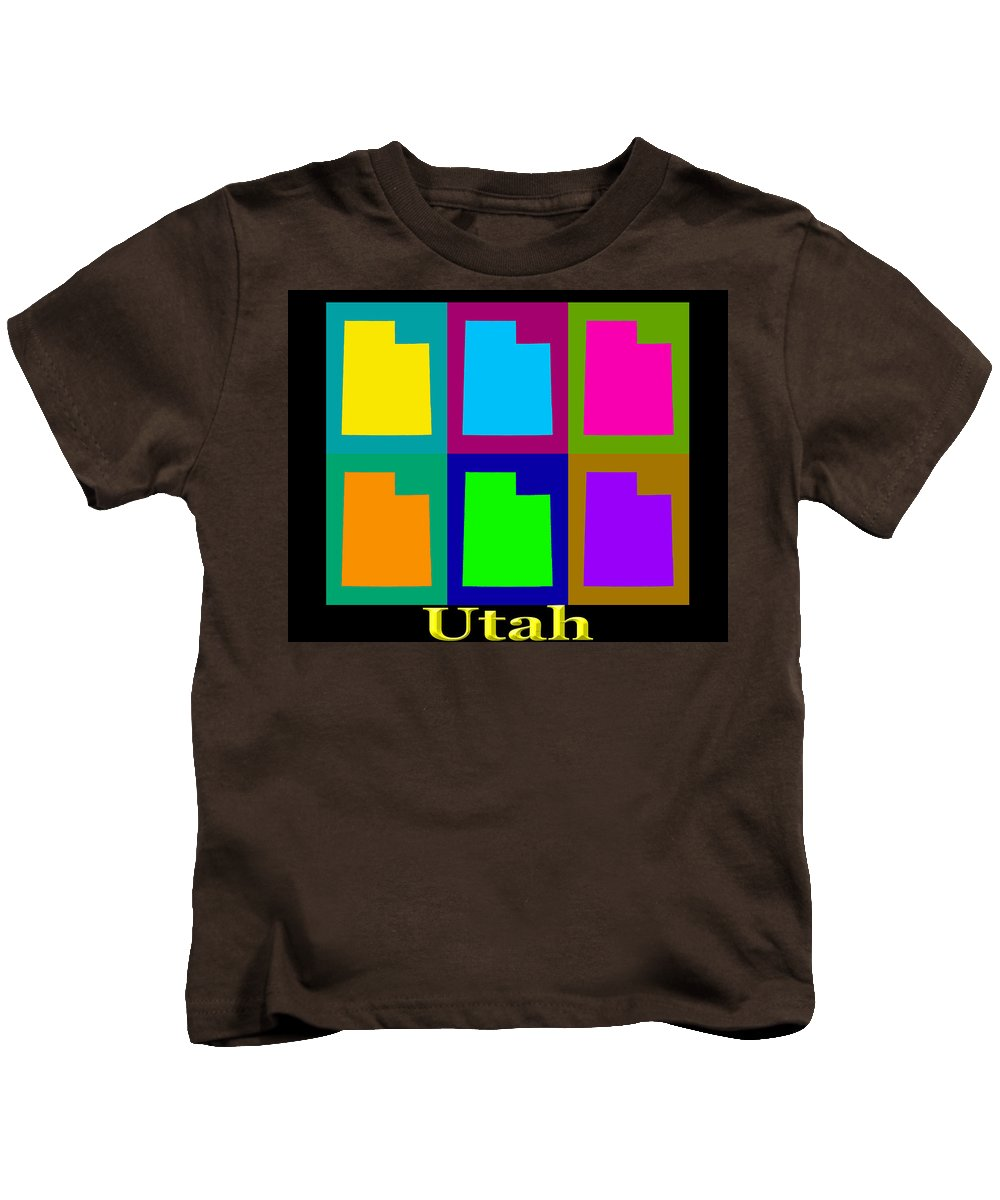 Utah Kids T-Shirt featuring the photograph Colorful Utah State Pop Art Map by Keith Webber Jr