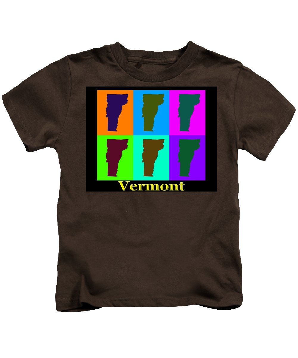 Vermont Kids T-Shirt featuring the photograph Colorful Vermont Pop Art Map by Keith Webber Jr