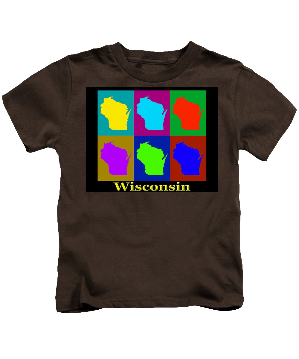 Wisconsin Kids T-Shirt featuring the photograph Colorful Wisconsin Pop Art Map by Keith Webber Jr