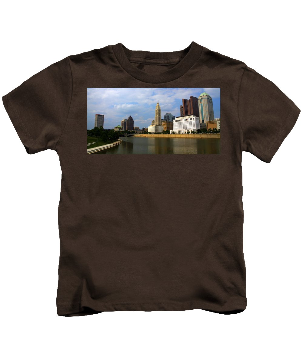 Columbus Kids T-Shirt featuring the photograph Columbus Skyline by Laurel Talabere