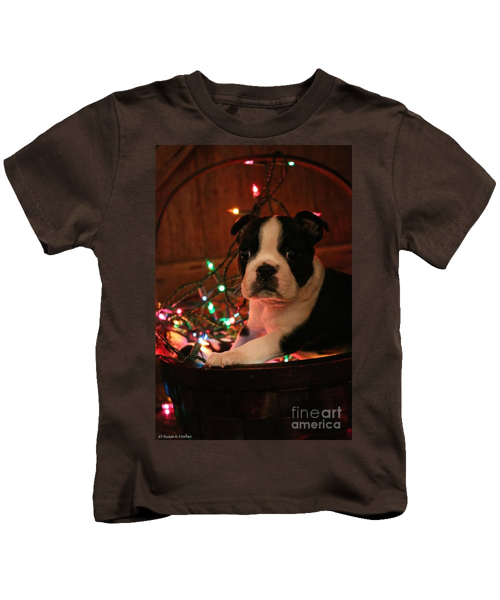 Animal Kids T-Shirt featuring the photograph Country Christmas Puppy by Susan Herber