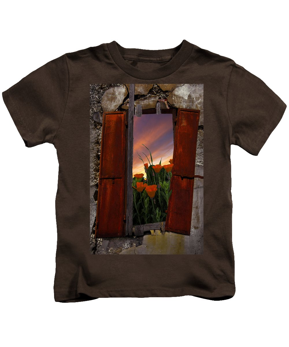Appalachia Kids T-Shirt featuring the photograph Courtyard Window by Debra and Dave Vanderlaan