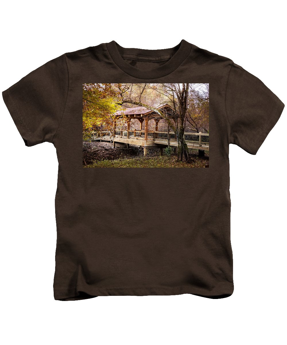Appalachia Kids T-Shirt featuring the photograph Covered Bridge On The River Walk by Debra and Dave Vanderlaan