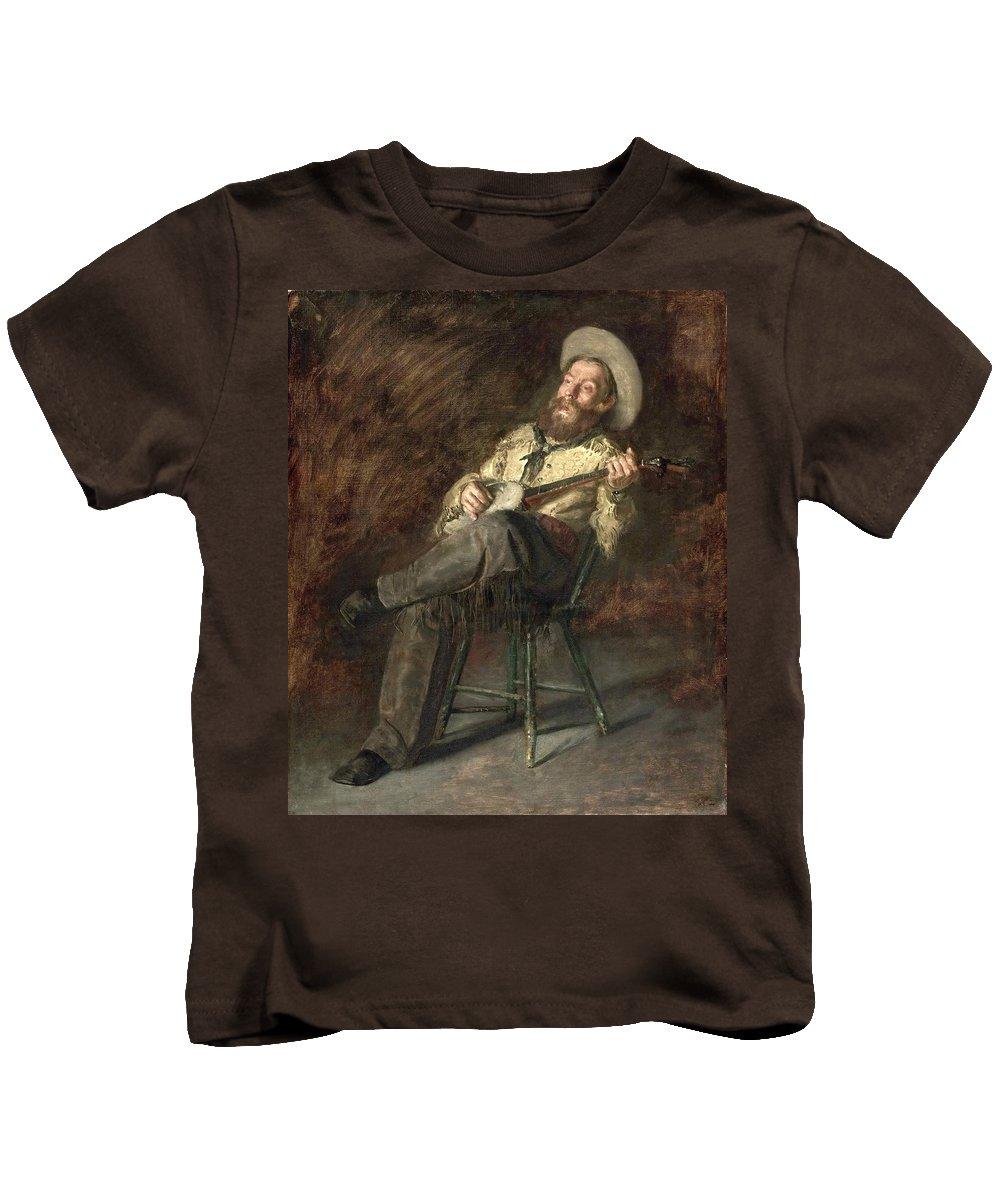Thomas Eakins Kids T-Shirt featuring the painting Cowboy Singing by Thomas Eakins