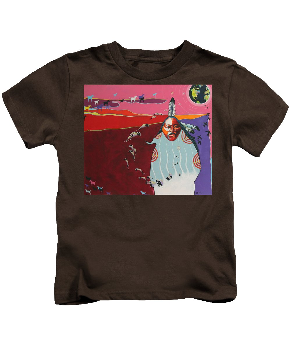 Native American Kids T-Shirt featuring the painting Creation by Joe Triano