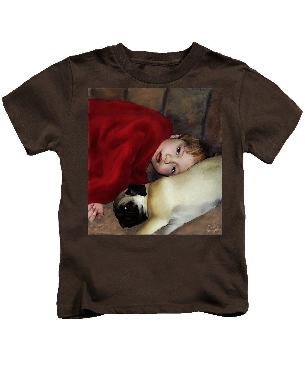 Pug Kids T-Shirt featuring the painting Cuddle Time by Shere Crossman