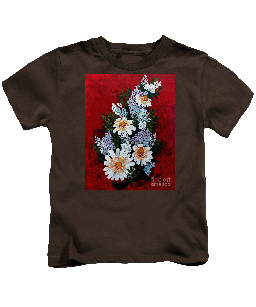 Barbara Griffin Kids T-Shirt featuring the painting Daisies Lilacs And Forget Me Nots by Barbara Griffin