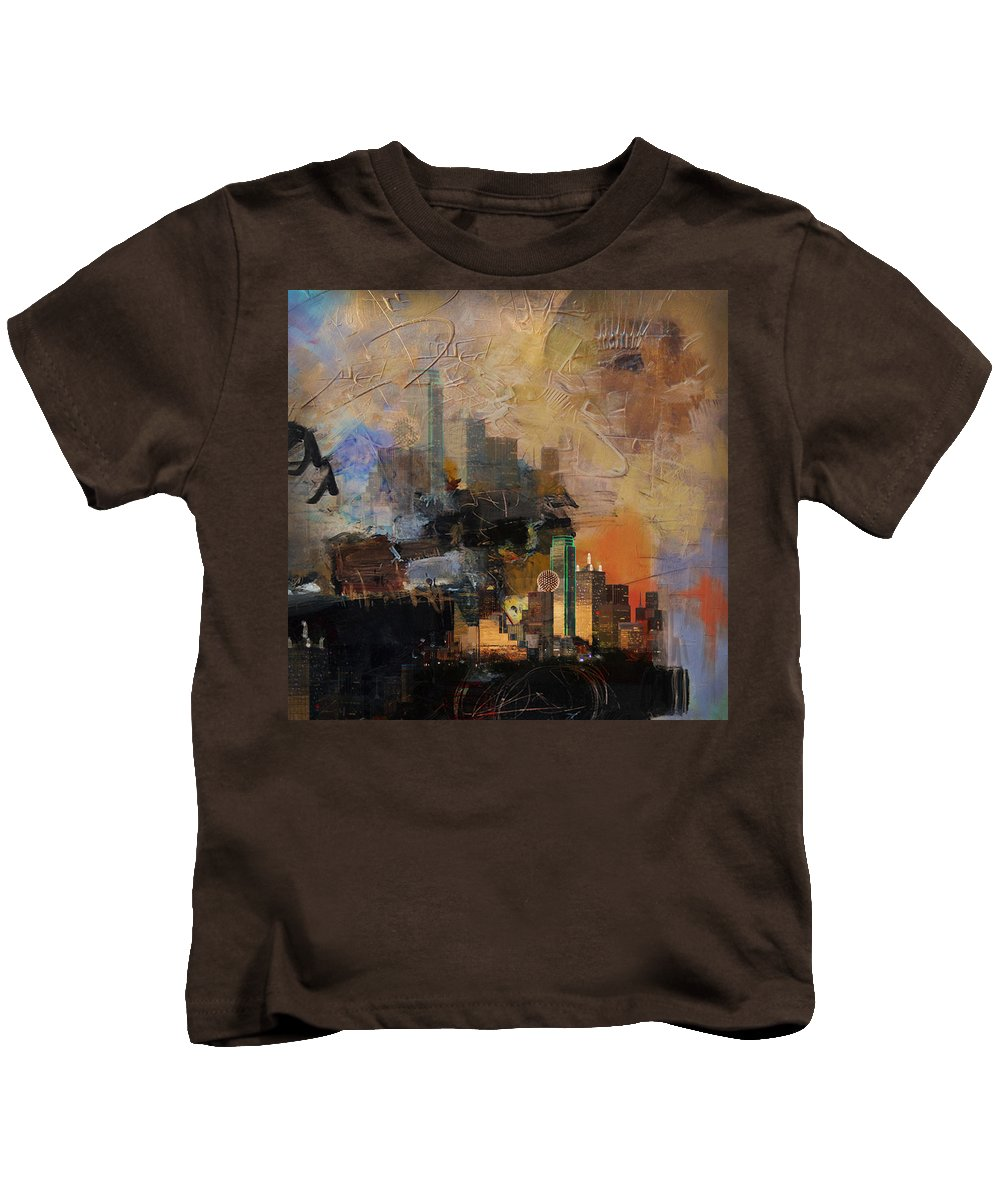 San Antonio Kids T-Shirt featuring the painting Dallas Abstract 002 by Corporate Art Task Force