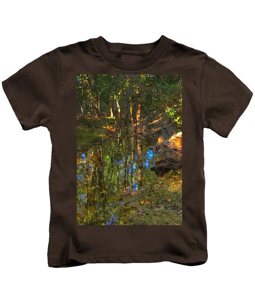 Trees Kids T-Shirt featuring the digital art Deep Reflections by Rick Mosher
