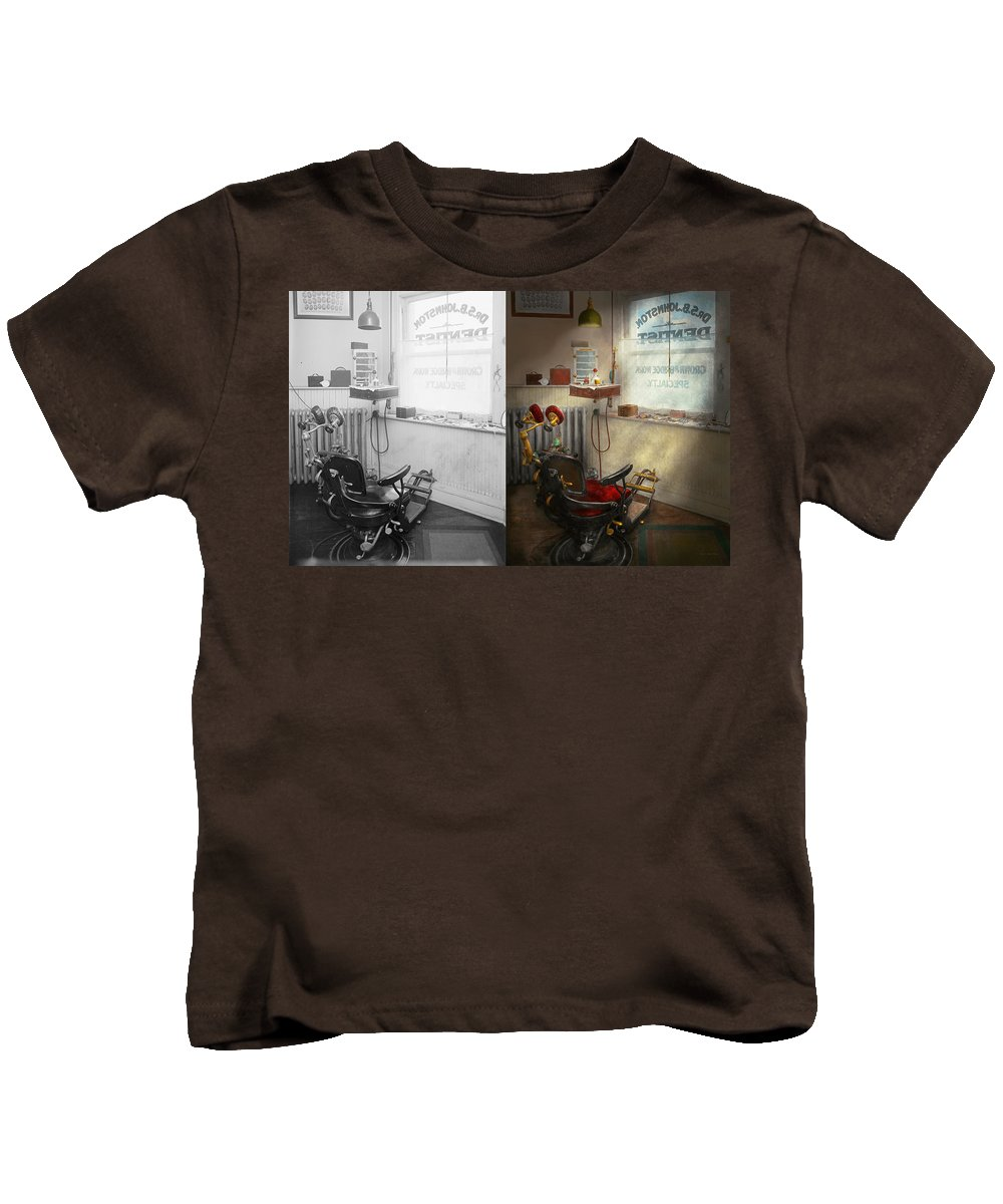Self Kids T-Shirt featuring the photograph Dentist - S.b. Johnston Dentist 1919 - Side By Side by Mike Savad