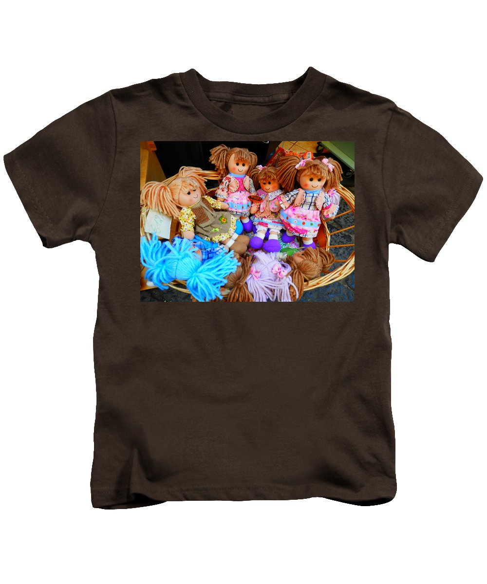 Dolls Kids T-Shirt featuring the photograph Dolls For Sale 1 by Pema Hou