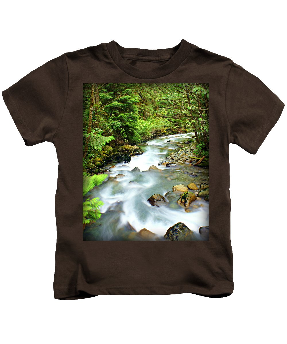 Stream Kids T-Shirt featuring the photograph Downstram In The Olympics by Marty Koch