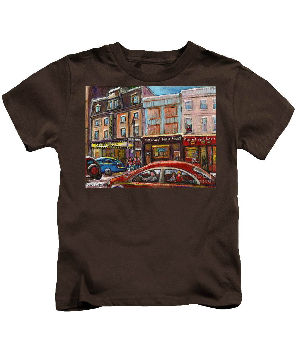 Montreal Kids T-Shirt featuring the painting Downtown Montreal Streetscene by Carole Spandau