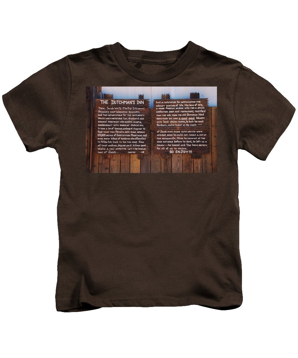 Superstition Kids T-Shirt featuring the photograph Dutchman's Inn by Dany Lison