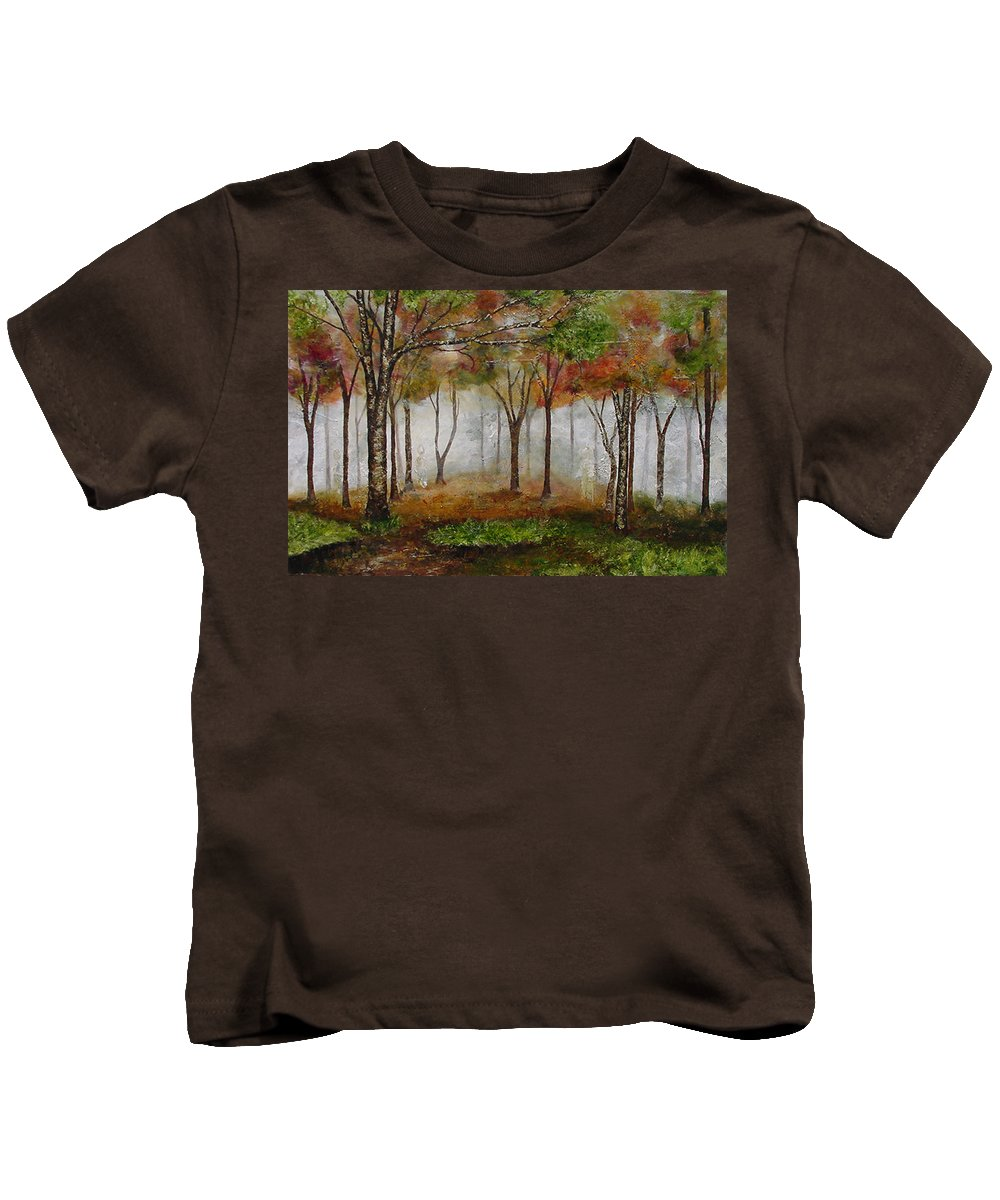 Landscape Kids T-Shirt featuring the painting Encuentro by Jacqueline Shaw