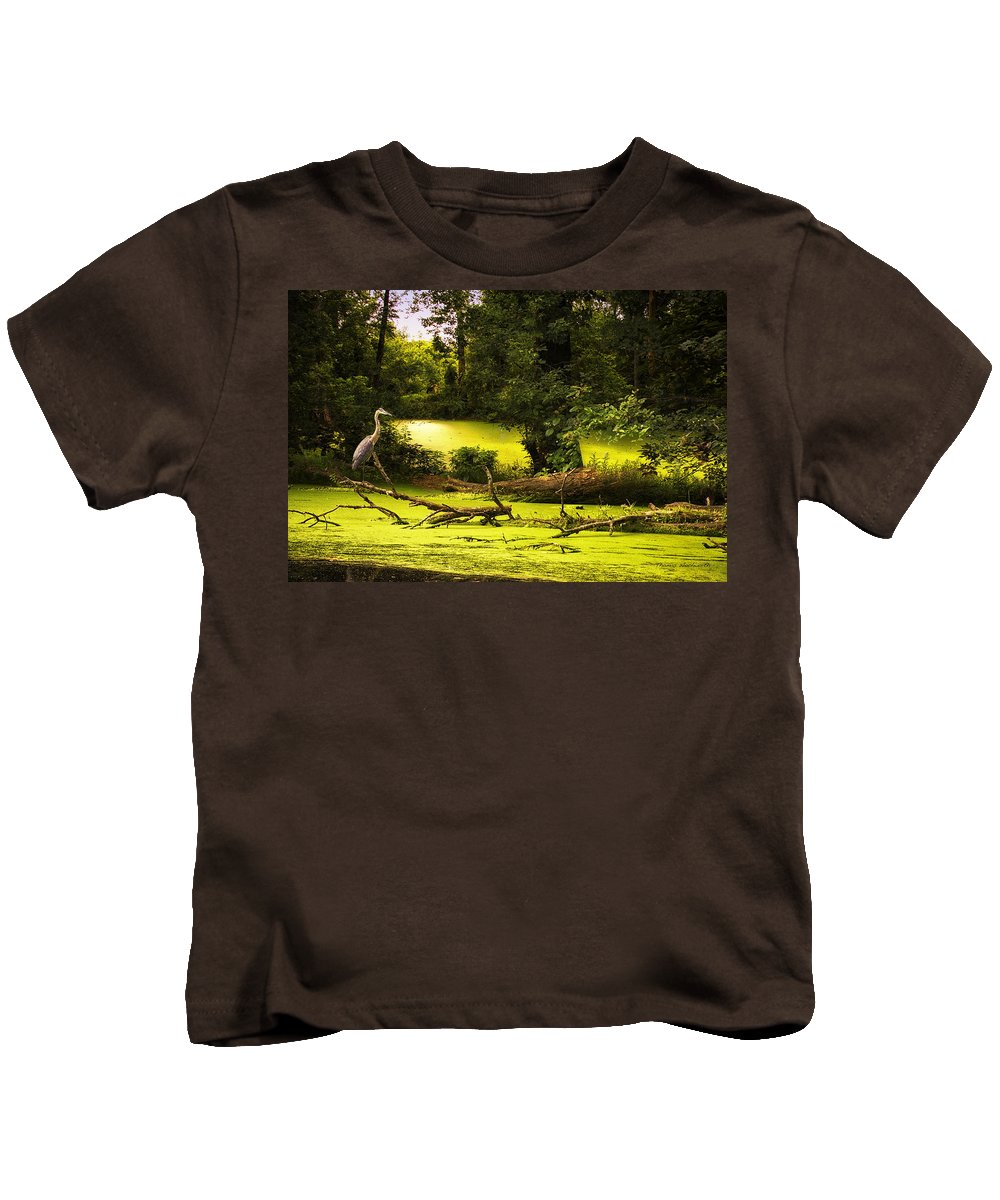 Ambience Kids T-Shirt featuring the photograph End Of Path Merged Image by Thomas Woolworth