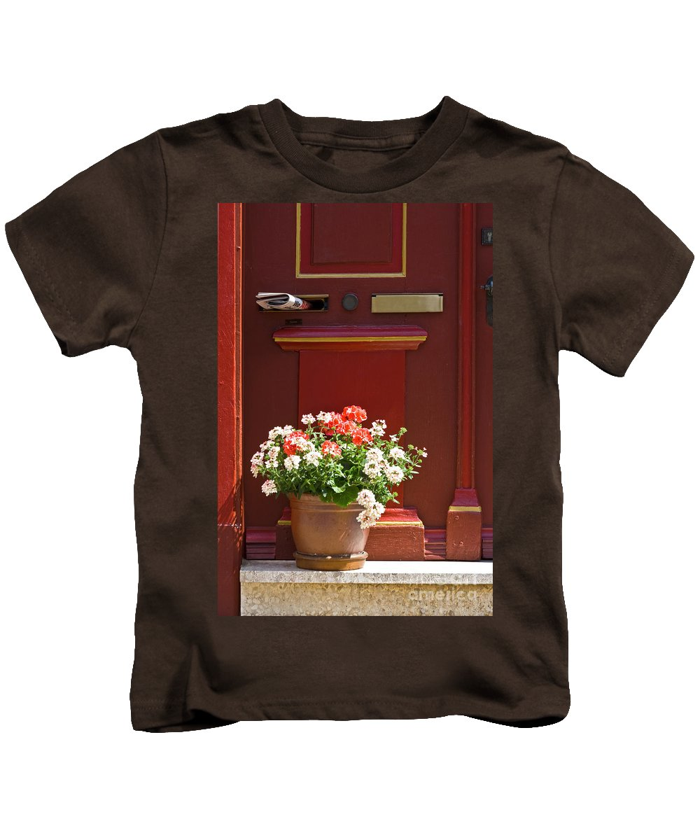 Kids T-Shirt featuring the photograph Entrance Door With Flowers by Heiko Koehrer-Wagner