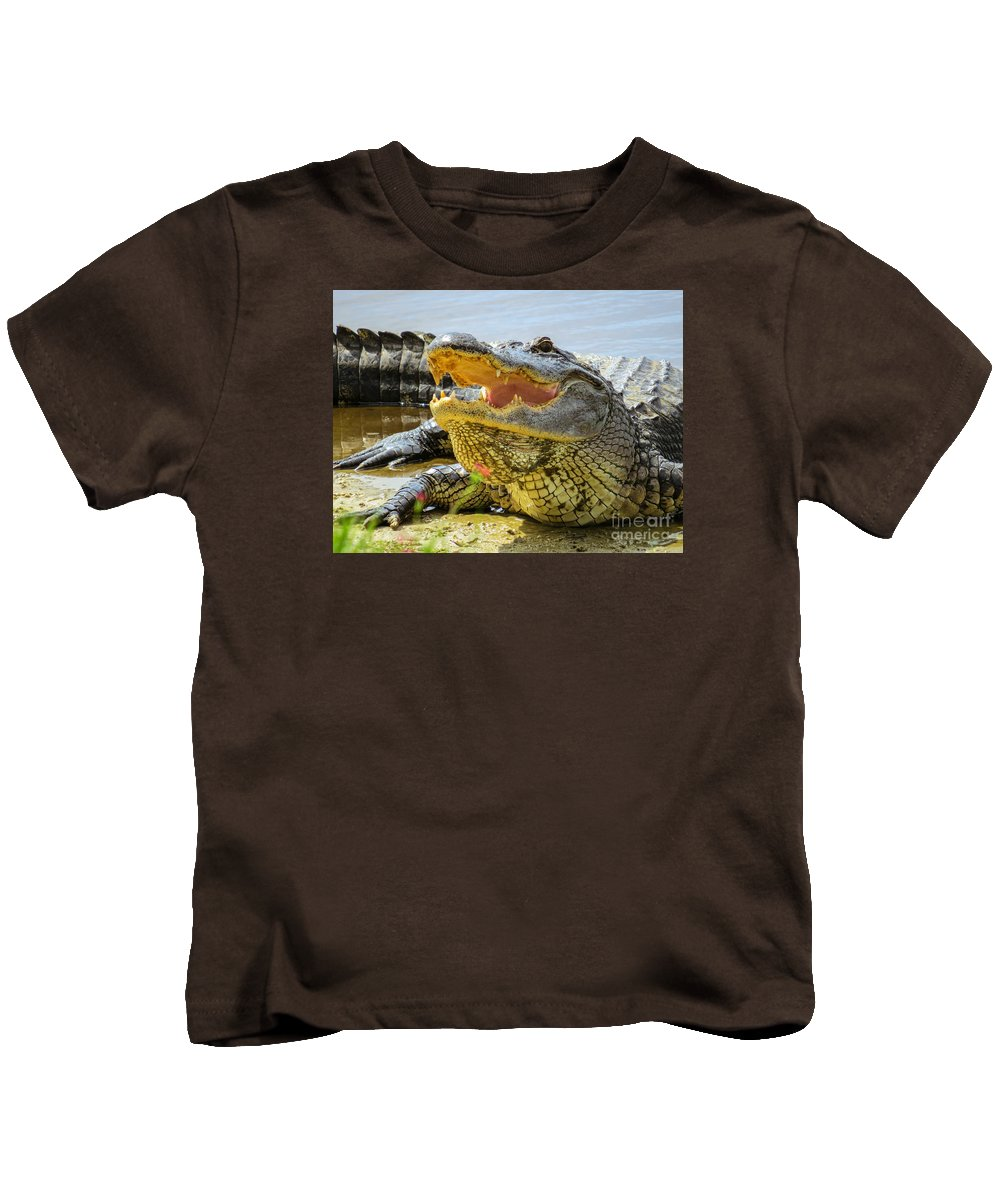 American Alligator Kids T-Shirt featuring the photograph Face To Face by Zina Stromberg