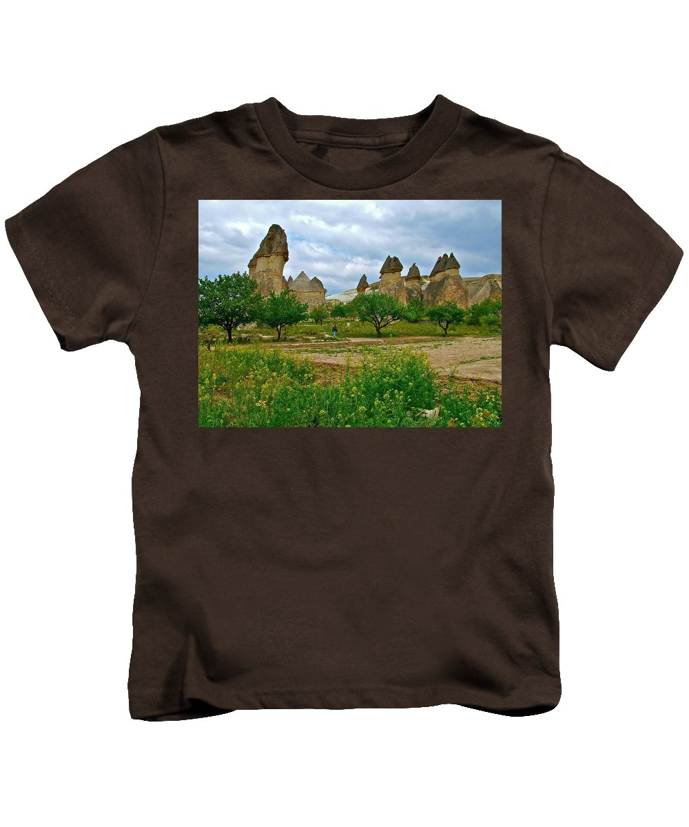 Fairy Chimneys Kids T-Shirt featuring the photograph Fairy Chimneys In Cappadocia-turkey by Ruth Hager