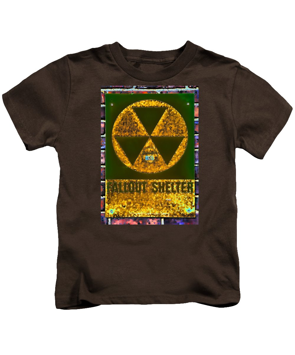 Fallout Kids T-Shirt featuring the photograph Fallout Shelter Wall 9 by Stephen Stookey