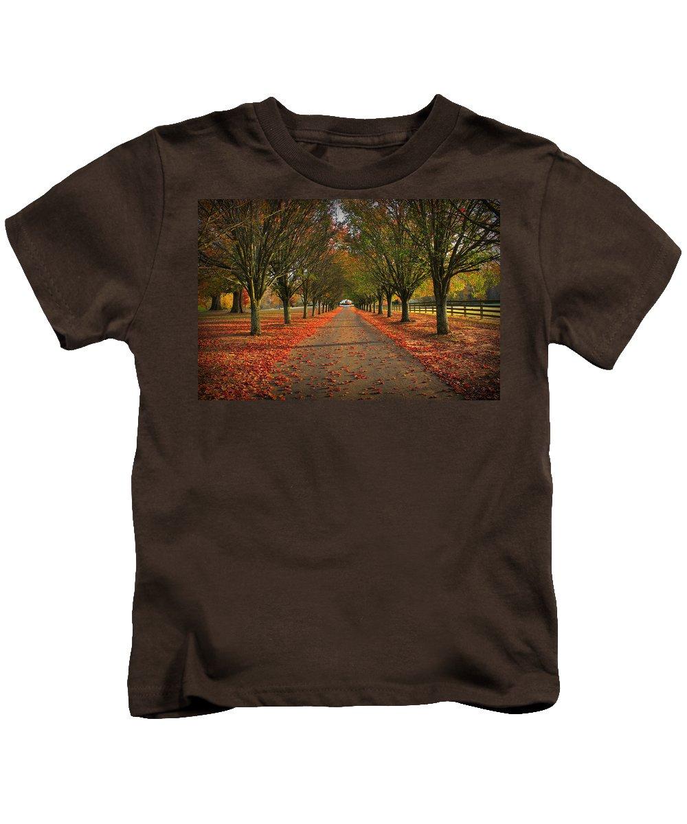 Reid Callaway Fall Kids T-Shirt featuring the photograph Fall's Driveway by Reid Callaway