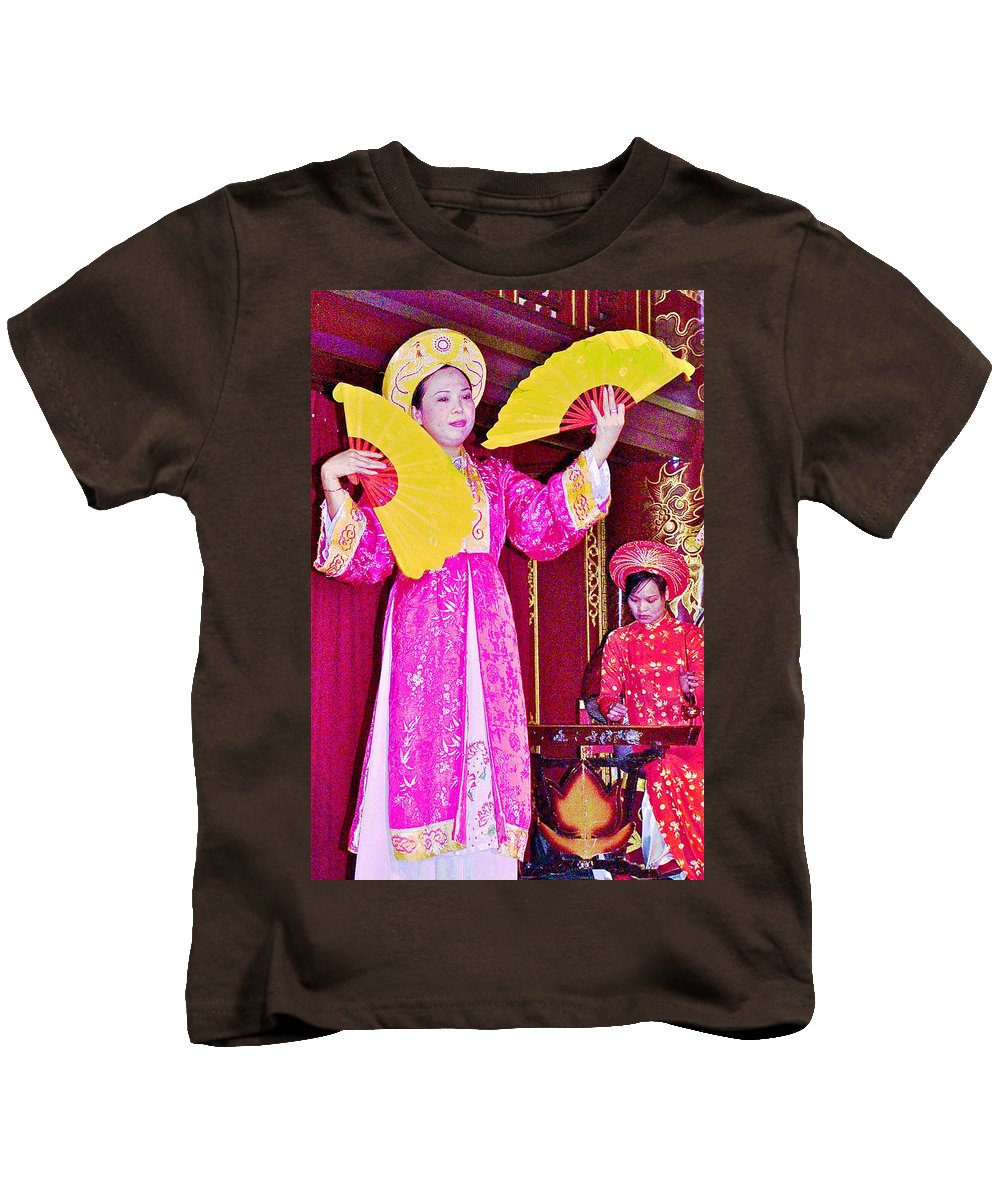Fan Dancer And Monochord Player In Court Music Show At Citadel Of Nguyen Dynasty In Hue Kids T-Shirt featuring the photograph Fan Dancer And Monochord Player In Court Music Show At Citadel Of Nguyen Dynasty In Hue-vietnam by Ruth Hager