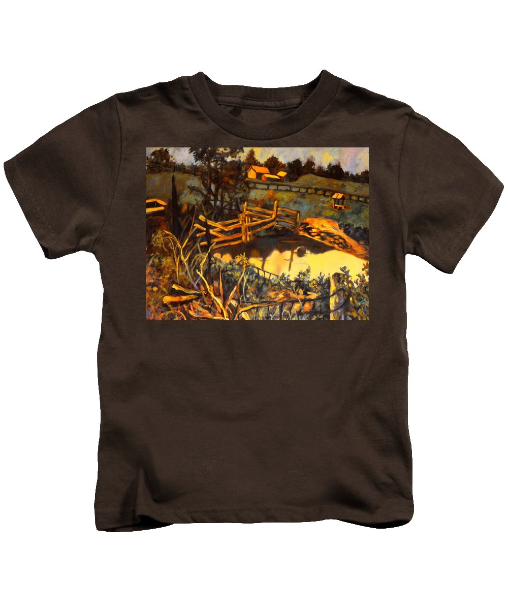 Kendall Kessler Kids T-Shirt featuring the painting Farm Pond Reflections by Kendall Kessler