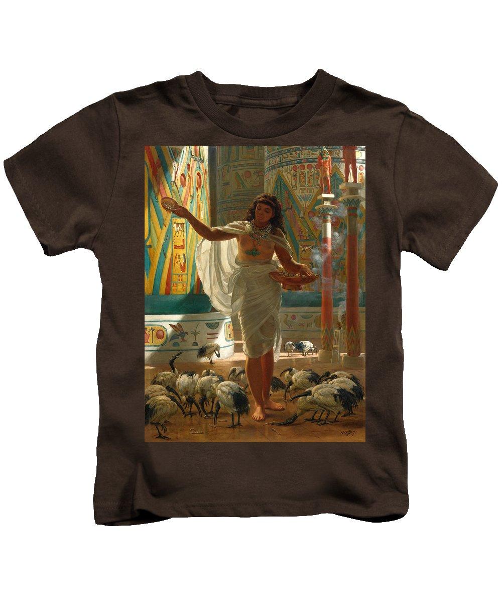 Edward John Poynter Kids T-Shirt featuring the painting Feeding The Sacred Ibis In The Halls Of Karnac by Edward John Poynter