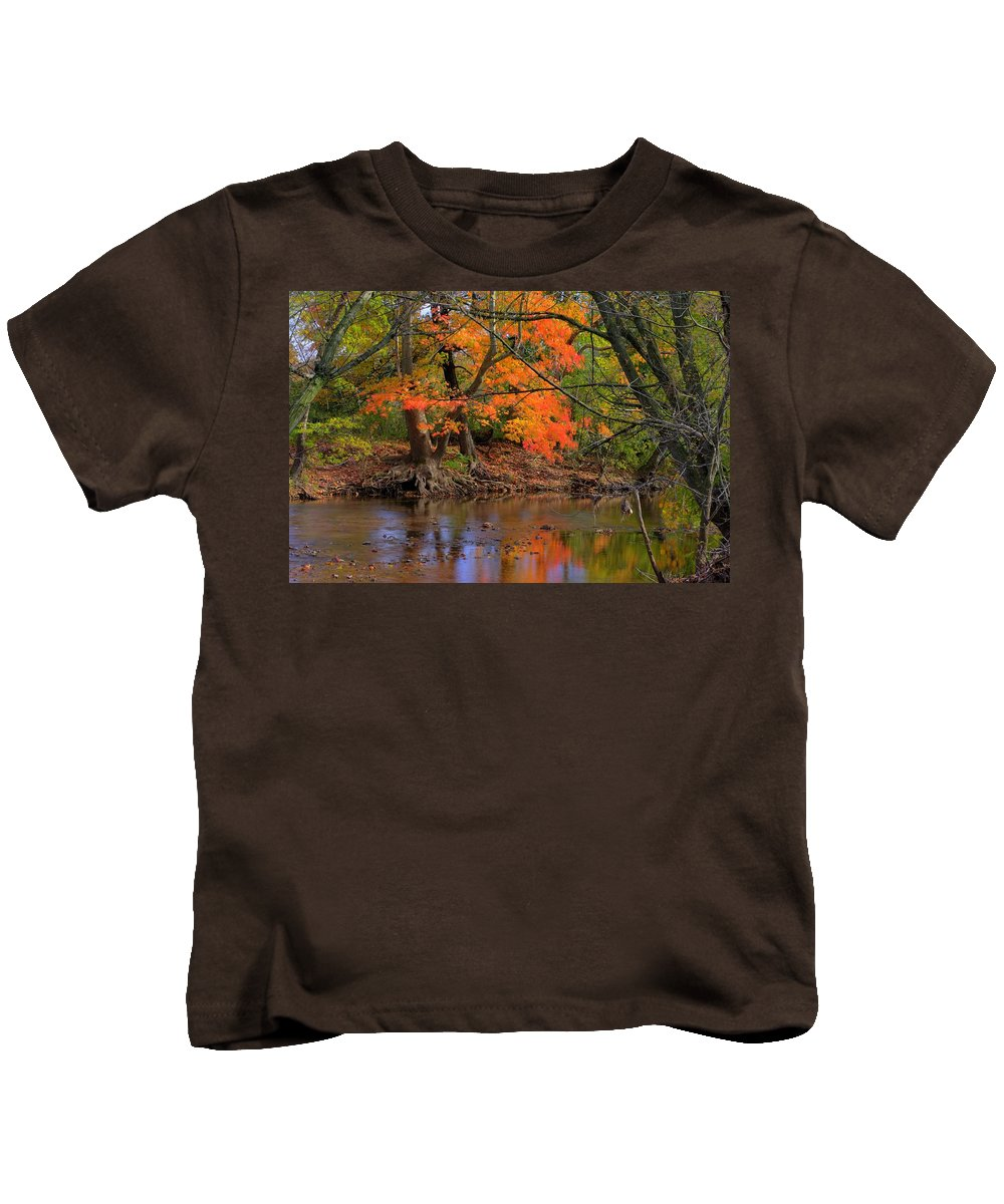 Owens Creek Kids T-Shirt featuring the photograph Fire In The Creek A1 - Owens Creek Near Loys Station Covered Bridge - Autumn Frederick County Md by Michael Mazaika