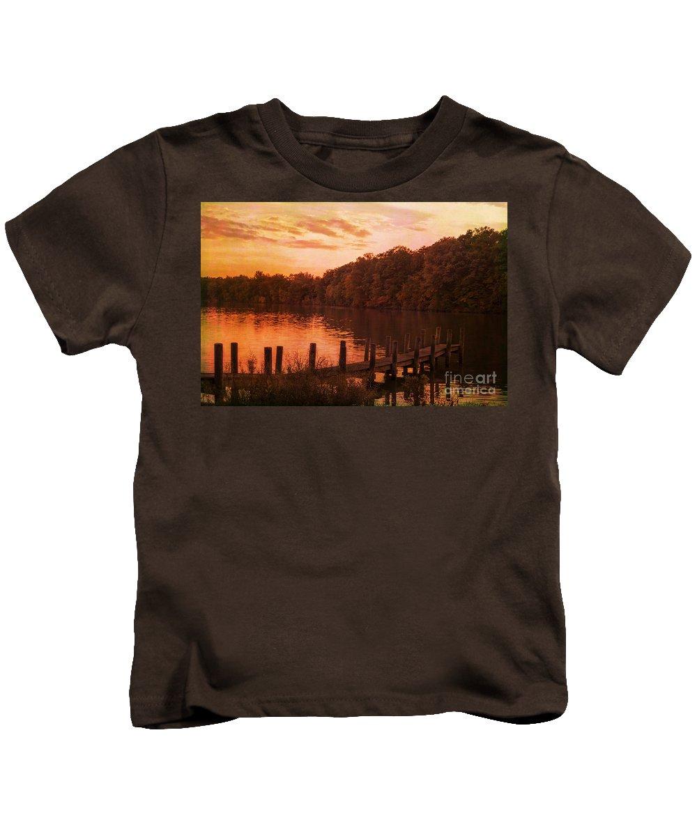 Landscape Kids T-Shirt featuring the photograph Fire On Lake Newport by Janice Pariza