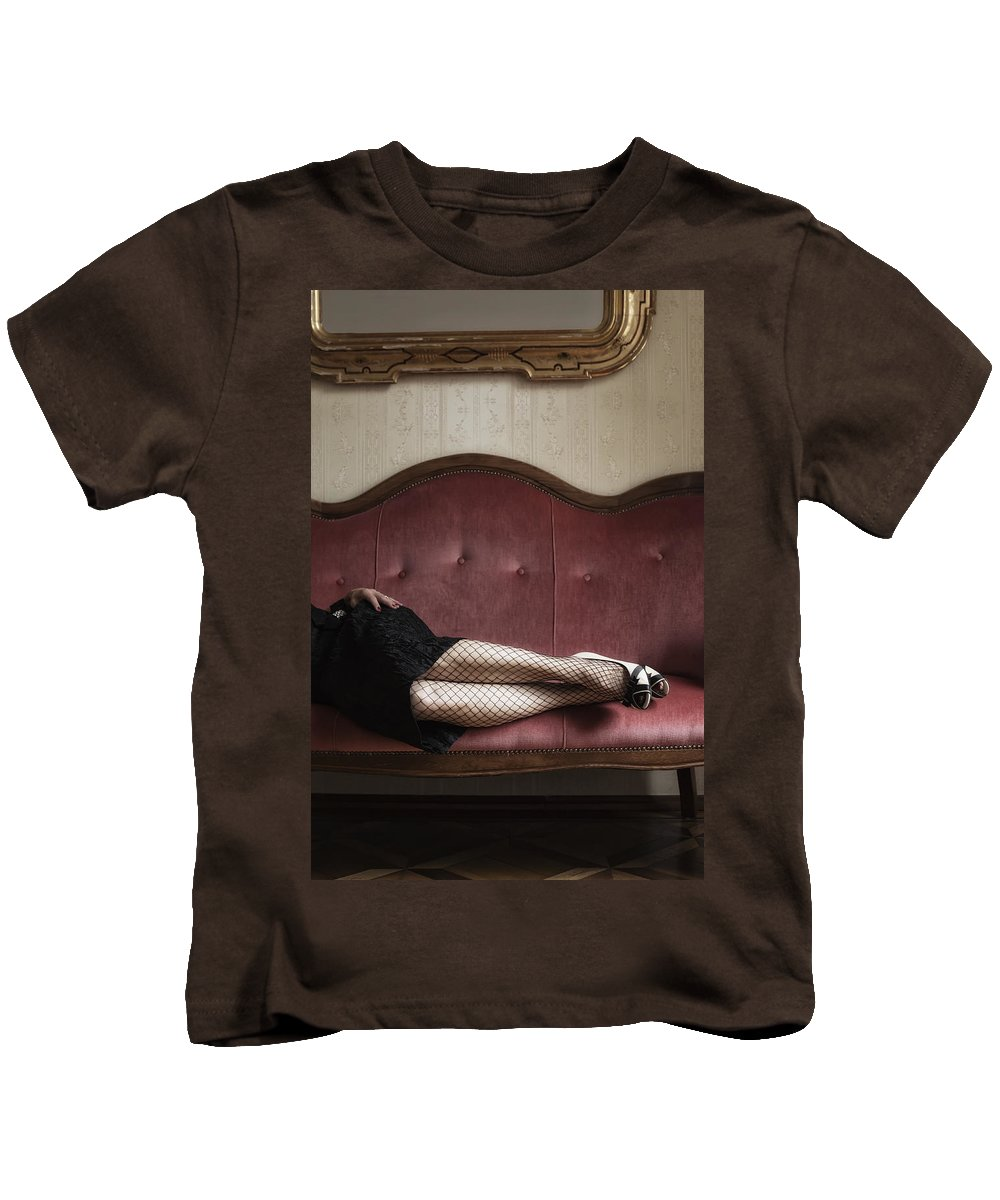 Lady Kids T-Shirt featuring the photograph Fishnet Tights by Joana Kruse