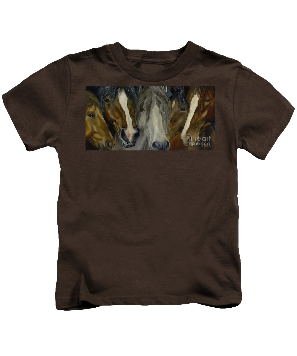 Horse Kids T-Shirt featuring the painting Five Guys by Catherine Davis