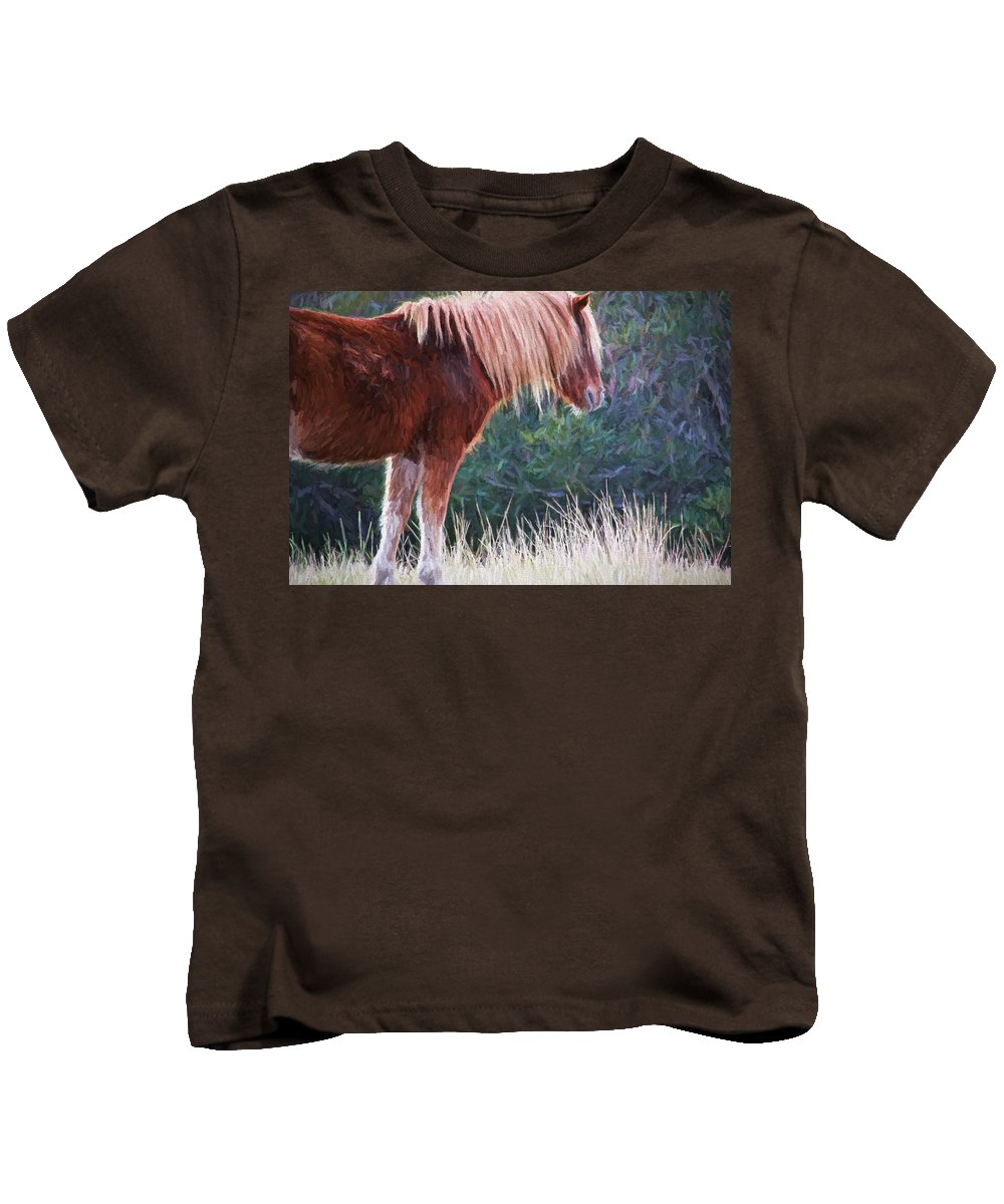 Flaxen Maned Wild Pony Kids T-Shirt featuring the photograph Flaxen Strands by Alice Gipson