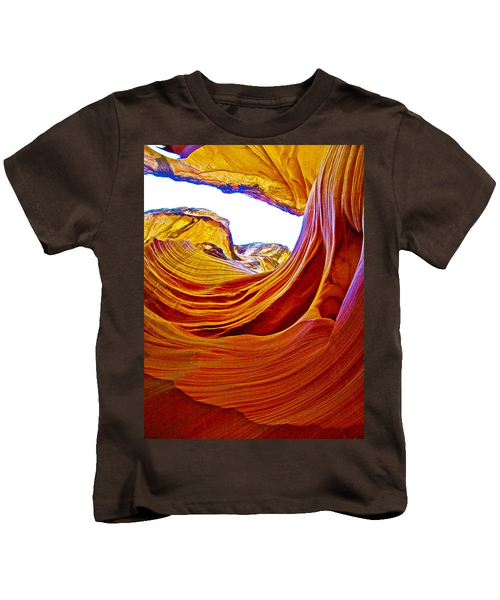 Flexibility Rock In Lower Antelope Canyon Near Page Kids T-Shirt featuring the photograph Flexibility Rock In Lower Antelope Canyon Near Page-arizona by Ruth Hager