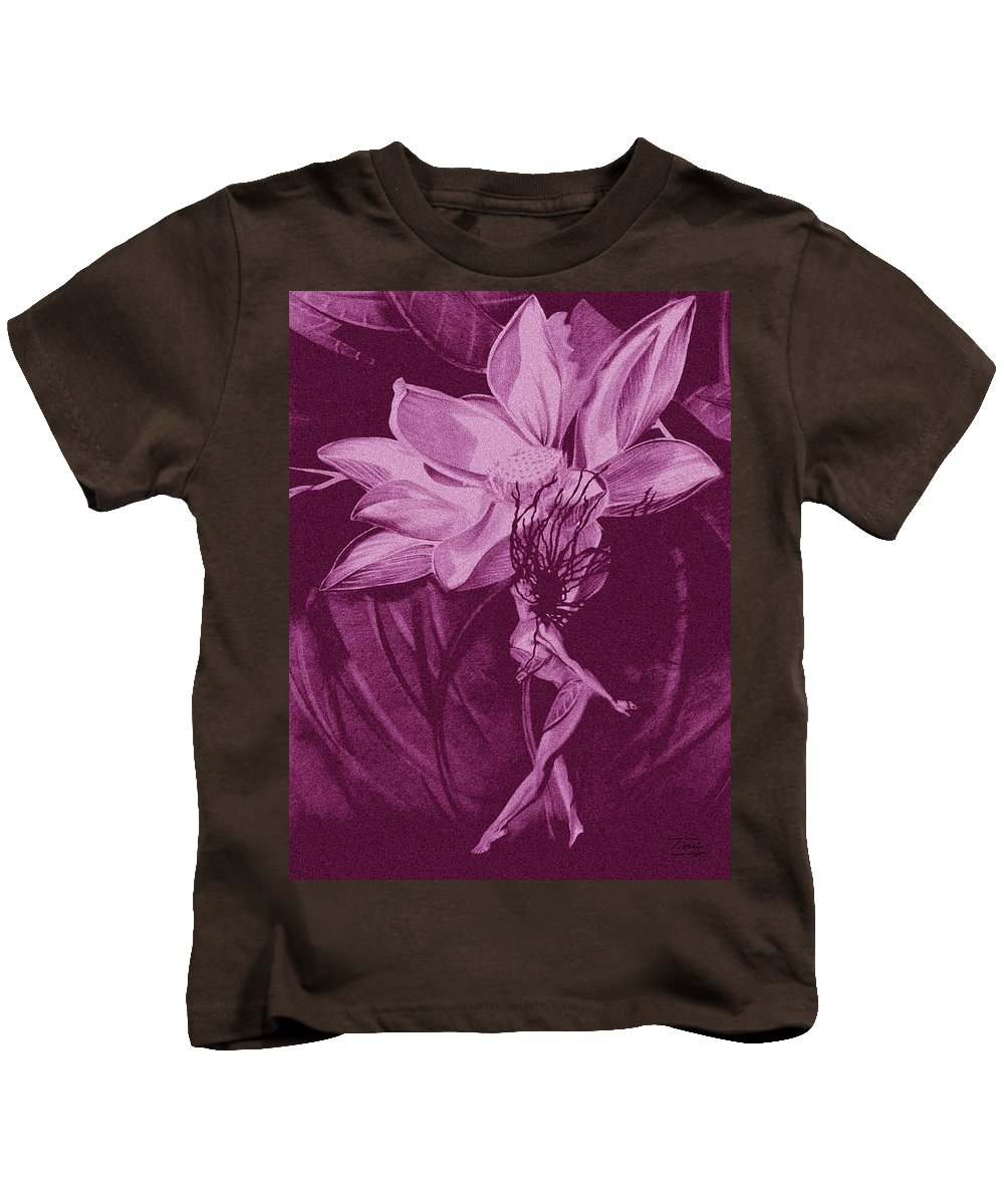 Flower Kids T-Shirt featuring the drawing Flower Bomb One Reticulation by Terri Meredith