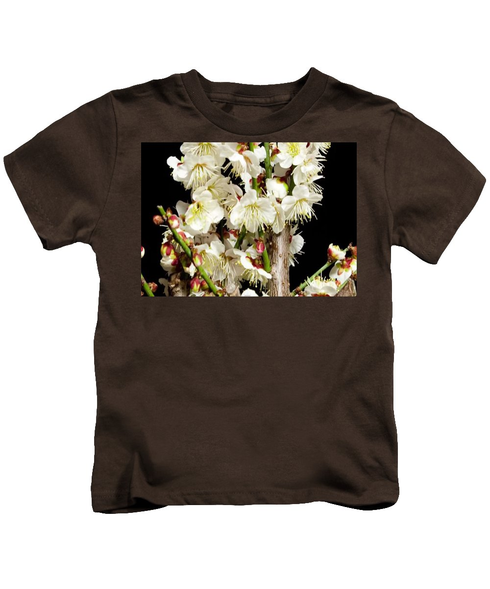 Sensual Kids T-Shirt featuring the mixed media Flower Bunch Bush White Cream Strands Sensual Exotic Valentine's Day Gifts by Navin Joshi