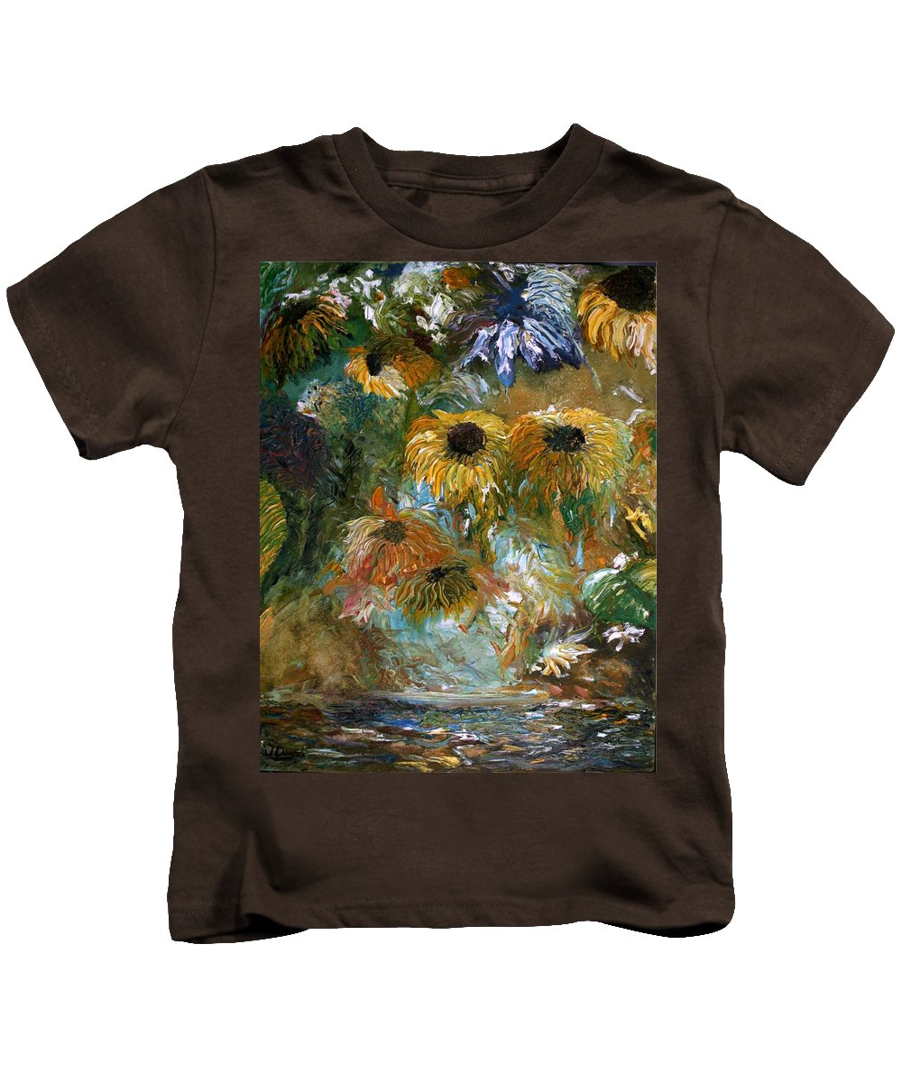 Flowers Kids T-Shirt featuring the painting Flower Rain by Jack Diamond
