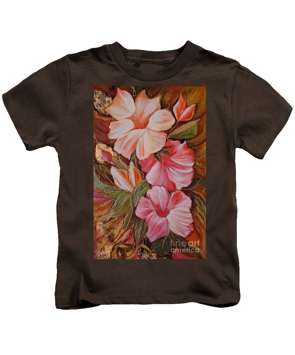 Abstract Kids T-Shirt featuring the painting Flowers II by Silvana Abel